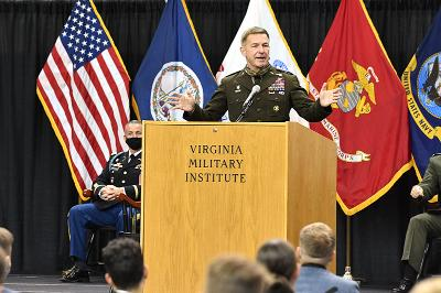 Gen. James C. McConville 0th chief of staff of the U.S. Army, addressed faculty, staff, and the Corps of Cadets of Virginia Military Institute in Cameron Hall on Wednesday, Sept. 30.